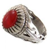انگشتر نقره عقیق قرمز طرح دورچنگ مردانه