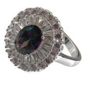 انگشتر نقره توپاز هفت رنگ طرح خورشید زنانه