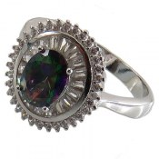 انگشتر نقره توپاز هفت رنگ طرح یگانه زنانه