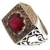 انگشتر نقره یاقوت سرخ دور برلیان اصل مردانه