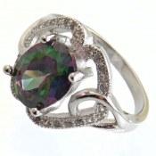 انگشتر نقره توپاز هفت رنگ طرح نازگل زنانه