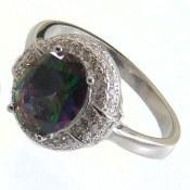 انگشتر نقره توپاز هفت رنگ طرح محبوب زنانه