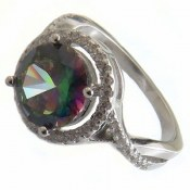 انگشتر نقره توپاز هفت رنگ طرح مهگل زنانه
