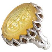 انگشتر نقره عقیق زرد درشت حکاکی یا علی مردانه