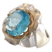 انگشتر نقره توپاز آبی شاهانه مردانه