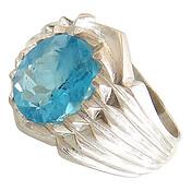 انگشتر نقره توپاز آبی درشت مردانه