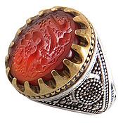 انگشتر عقیق سرخ حکاکی یا رقیه مردانه