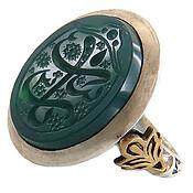 انگشتر نقره عقیق سبز درشت حکاکی فاخر مردانه