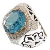 انگشتر توپاز آبی شاهانه مردانه
