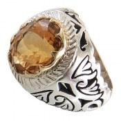 انگشتر نقره سیترین سلطنتی مردانه