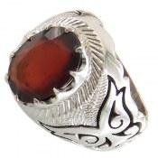 انگشتر نقره یاقوت سرخ اشرافی مردانه