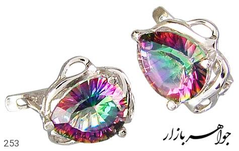 عکس گوشواره نقره توپاز هفت رنگ اسپرت زنانه