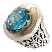 انگشتر نقره توپاز مرغوب شاهانه مردانه