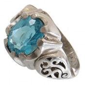 انگشتر توپاز آبی خوش رنگ مردانه