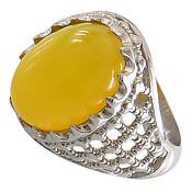 انگشتر نقره عقیق زرد درشت رکاب پنجره ای مردانه
