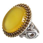 انگشتر عقیق زرد درشت مردانه