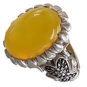 انگشتر نقره عقیق زرد درشت مردانه