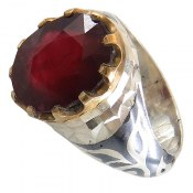 انگشتر نقره یاقوت سرخ درشت شاهانه مردانه