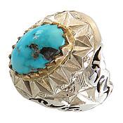 انگشتر نقره فیروزه مرغوب خوش رنگ مردانه دست ساز