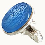 انگشتر عقیق آبی فاخر و درشت حکاکی مذهبی مردانه