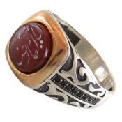انگشتر نقره عقیق قرمز حکاکی یا امام رضا مردانه