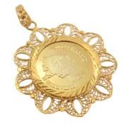 مدال نقره اونس طرح سکه قدیمی سایز درشت زنانه