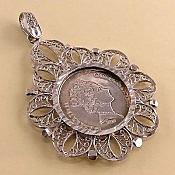 مدال نقره اونس طرح طلای قدیمی سایز متوسط