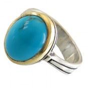 انگشتر نقره فیروزه مصری خوش رنگ مردانه