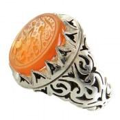 انگشتر نقره عقیق یمنی پرتقالی شرف الشمس حکاکی العزة الله جمیعا مردانه
