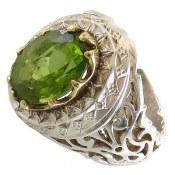 انگشتر نقره زبرجد درشت شاهانه مردانه