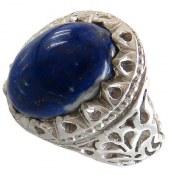 انگشتر نقره لاجورد درشت طرح شاهانه مردانه
