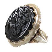 انگشتر نقره عقیق سیاه حکاکی یا امام حسن ع مردانه دست ساز