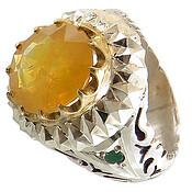 انگشتر نقره زمرد و یاقوت زرد درشت شاهانه رکاب طرح آینه کاری مردانه