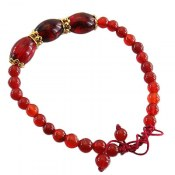 دستبند عقیق و پودر کهربا زیبا زنانه