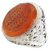 انگشتر نقره عقیق یمن درشت الماس تراش حکاکی ومن یتق الله مردانه