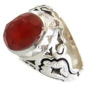 انگشتر نقره عقیق یمن برجسته خوش رنگ الماس تراش مردانه