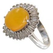 انگشتر عقیق زرد شرف الشمس طرح ستاره زنانه