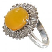 انگشتر نقره عقیق زرد شرف الشمس طرح ستاره زنانه