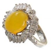 انگشتر نقره عقیق زرد شرف الشمس طرح شایسته زنانه