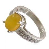 انگشتر عقیق زرد شرف الشمس طرح آویسا زنانه