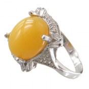 انگشتر عقیق زرد شرف الشمس طرح ارغوان زنانه