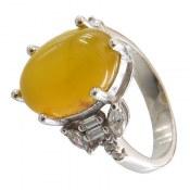 انگشتر عقیق زرد شرف الشمس طرح شبنم زنانه