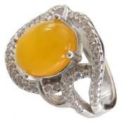 انگشتر عقیق زرد شرف الشمس طرح پرنسس زنانه