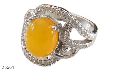 عکس انگشتر نقره عقیق زرد شرف الشمس طرح پرنسس زنانه