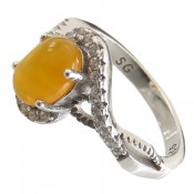 انگشتر عقیق زرد شرف الشمس طرح محبوب زنانه