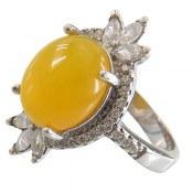 انگشتر نقره عقیق زرد شرف الشمس طرح شراره زنانه