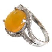 انگشتر نقره عقیق زرد شرف الشمس طرح مینا زنانه