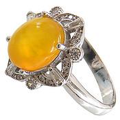 انگشتر عقیق زرد شرف الشمس طرح رونیکا زنانه