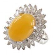 انگشتر عقیق زرد درشت شرف الشمس طرح خورشید زنانه