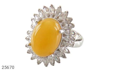 عکس انگشتر نقره عقیق زرد درشت شرف الشمس طرح خورشید زنانه